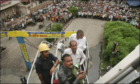 Bomb disposal squad try to defuse a bomb in Surat