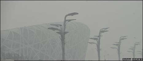 Smog at Beijing's Olympic Stadium