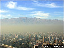 A brown layer of smog visible in Santiago