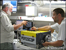 Scientists examine Periscop onboard (B.Shillito)