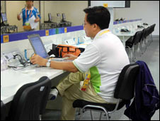 A journalist at work in the Main Press Centre in Beijing on 30 July 2008