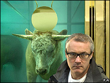 "Artist Damien Hirst in front of ""The Golden Calf"""
