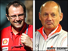 Ferrari team boss Stefano Domenicali (left) and McLaren team boss Ron Dennis