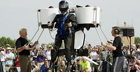 Harrison Martin takes a jet pack for a test flight