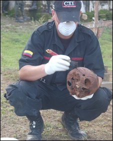 Police examine the skull of Francisco Munoz