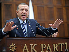 Turkish Prime Minister Recep Tayyip Erdogan in parliament, 15 July 08