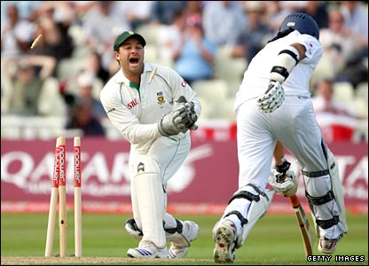 Monty Panesar is run out by Mark Boucher