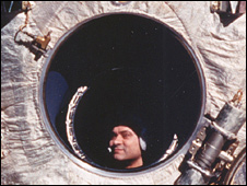 Valeriy Polyakov looks out of Mir's window in 1994 (Nasa)