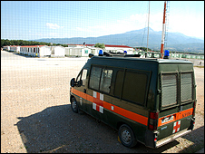 A military ambulance parked outside the family's room 
