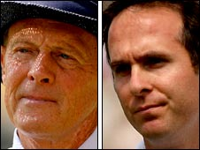 Geoffrey Boycott and Michael Vaughan