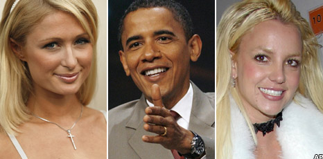 Paris Hilton, Britney Spears and Barack Obama