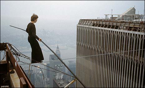 Philippe Petit begins his 1974 wire-walk. (c) 2008 Jean-Louis Blondeau/Polaris Images