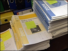 piles of test scripts