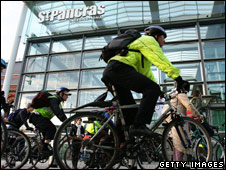 Cyclists outside the Eurostar terminal of St Pancras International station