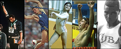 Tommie Smith, Sergey Bubka, Nadia Comaneci, Vladimir Salnikov y Te�filo Stevenson
