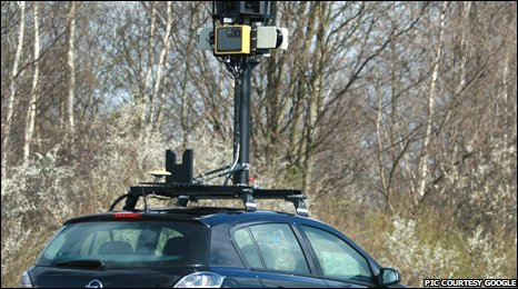 Google's Street View car takes panoramic images of streets