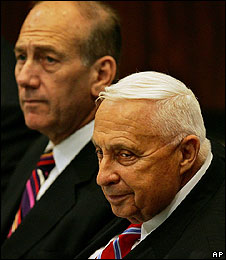 Ehud Olmert with Ariel Sharon