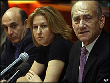 Shaul Mofaz, Tzipi Livni, Ehud Olmert