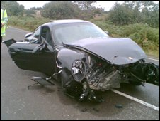 The Porsche involved in the crash