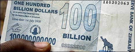 A $100bn note in Zimbabwe