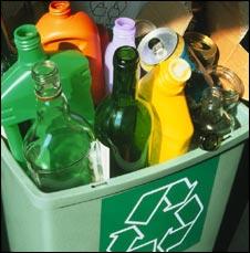 Plastics recycle bin
