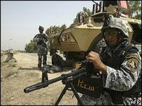 Comandos iraquíes en Baquba, al norte de Bagdad, el 31 de julio de 2008