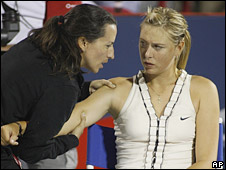 Maria Sharapova receives treatment