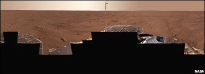 Panorama of Mars landing site (NASA/JPL-Caltech/University Arizona/Texas A&M University)