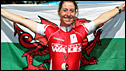 Nicole Cooke and the Welsh flag