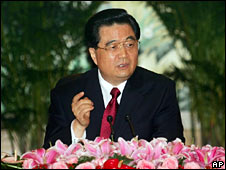 China President Hu Jintao speaks to journalists on 1 August 2008
