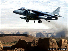 A Harrier attack aircraft takes off on patrol on 23 October 2002 from Bagram Airbase in Afghanistan