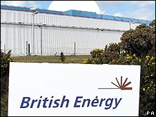 British Energy sign outside the Sizewell B nuclear reactor