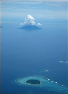 An aerial view of some islands in the Tongan archipelago (pic David Marks)