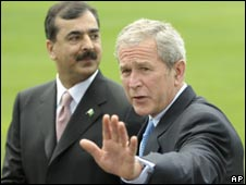 Prime Minister Gilani with President Bush on 28 July 2008