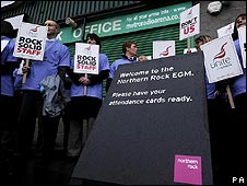 Northern Rock staff show their support for the company