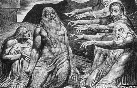 """1828: """"The Just Upright Man is laughed to scorn"""". Job from the Old Testament. Plate 10 from William Blake""""s Illustrations to the Book of Job"""