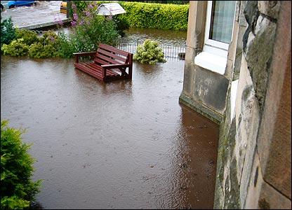 Flooded garden in Kilbirnie
