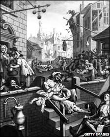 Scenes of debauchery and drunkenness in Gin Lane and Beer Street, London, circa 1751. Original Artwork: Engraving by Henry Adlard after William Hogarth.