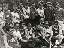 The Moscow Foreign Workers baseball team after their match against the Gorky Autoworkers Team, Gorky Park, 1934