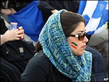 Iranian women watch a football match (file photo)