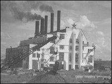 The construction of the power station to the Gorky Plant, 1935