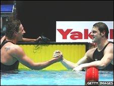 Ryan Lochte (left) with Liam Tancock