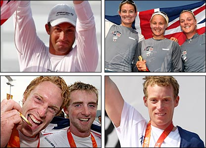 clockwise from top left: Ben Ainslie; Sarah Webb, Sarah Ayton and Pippa Wilson; Ben Rhodes and Stevie Morrison; Paul Goodison