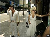 Elvis (Mike Romeo) and Marilyn Monroe (Dena Morehouse) impersonators on Hollywood Boulevard