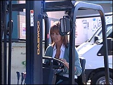 Tanya Rostron driving a forklift truck