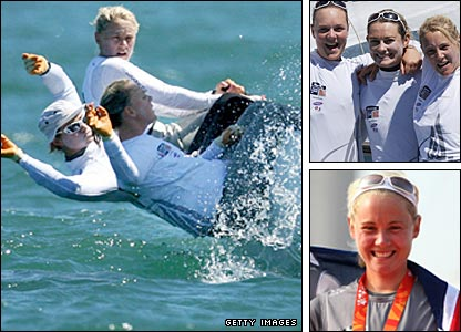 Britain's Yngling sailors: (top right - left-to-right: Pippa Wilson, Sarah Webb, Sarah Ayton)