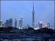Shanghai business district skyline