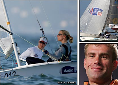 Left - Christina Bassadone and Saskia Clark; top right - Leigh McMillan and Lee Howden sail the Tornado; bottom right - Iain  Percy