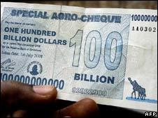 Zimbabwe bank note, file pic