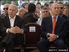 Ehud Olmert at a memorial ceremony on Thursday